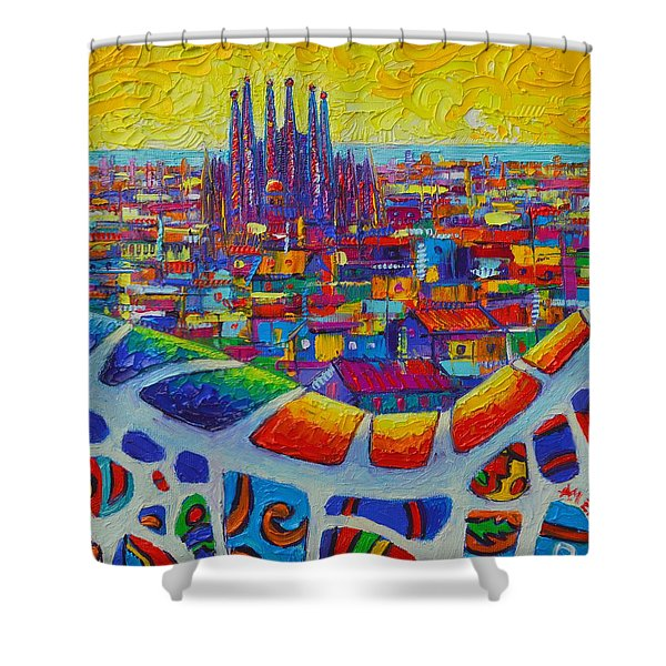Barcelona View Sagrada From Park Guell Impressionist Abstract City Knife Painting Ana Maria Edulescu Shower Curtain
