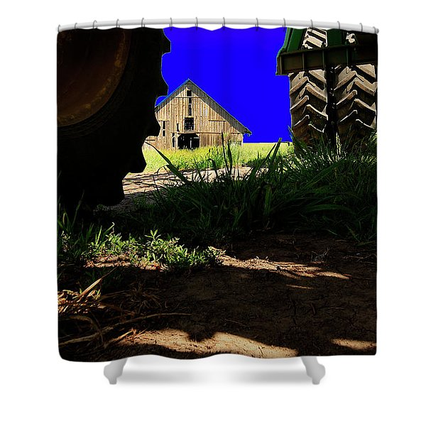 Barn From Under The Equipment Shower Curtain
