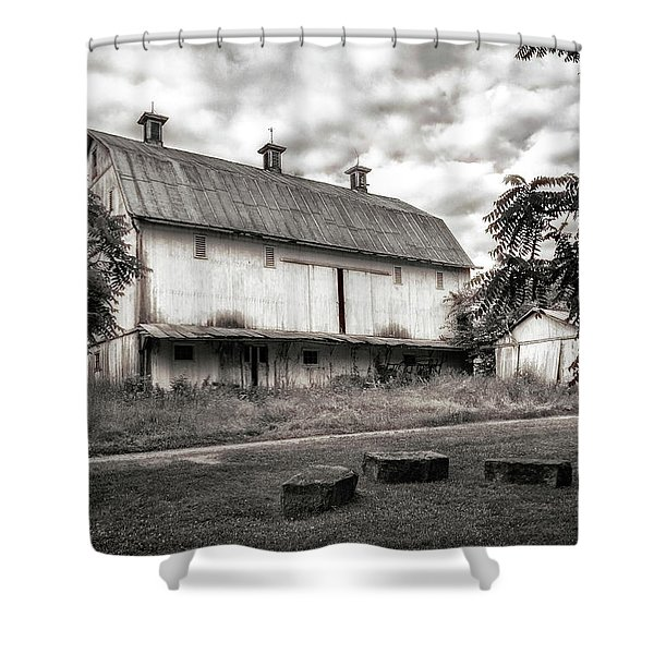 Barn In Black And White Shower Curtain