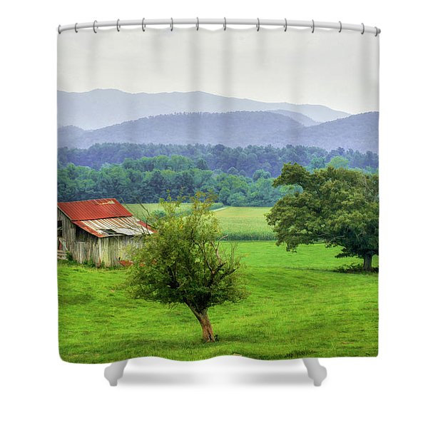 Barn In Smokies 2 Shower Curtain