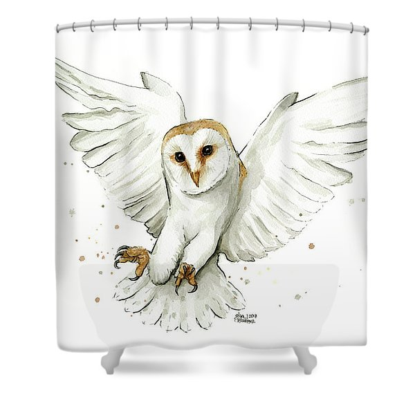 Barn Owl Flying Watercolor Shower Curtain
