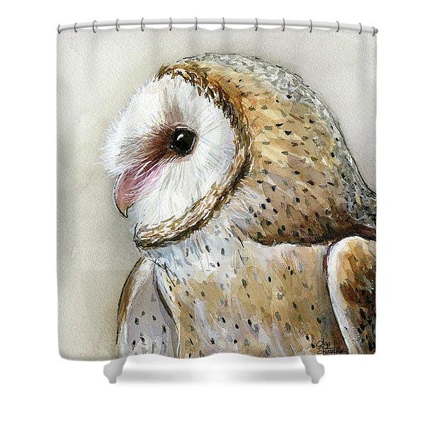 Barn Owl Watercolor Shower Curtain
