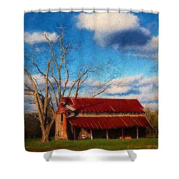 Red Roof Barn 2 Shower Curtain