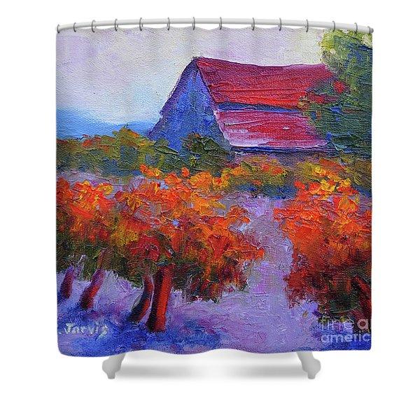 Barn Vineyard Autumn Shower Curtain