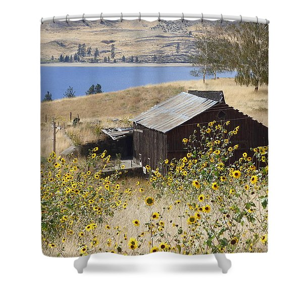 Shower Curtain featuring the photograph Barn With Sunflowers by Charles Robinson