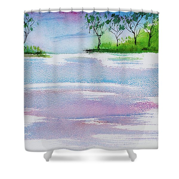 Gum Trees Frame The Sunset At Barnes Bay Shower Curtain