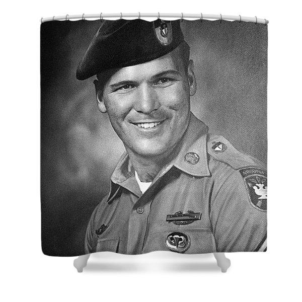 Barry Sadler Photo In Green Beret Uniform Circa 1965 Shower Curtain