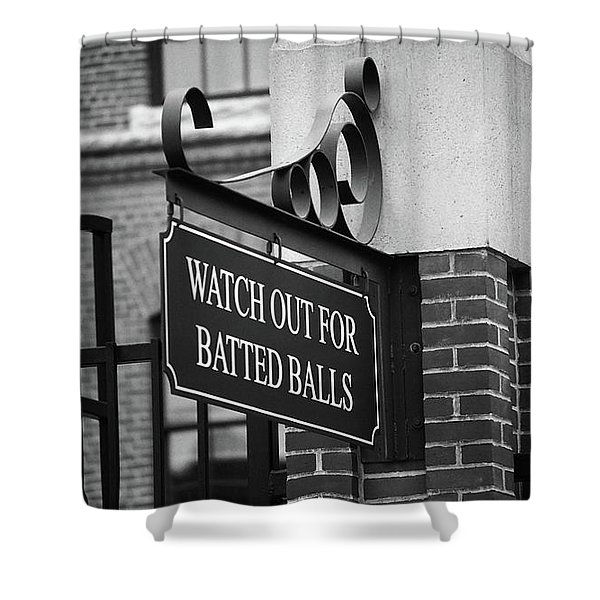 Baseball Warning Bw Shower Curtain