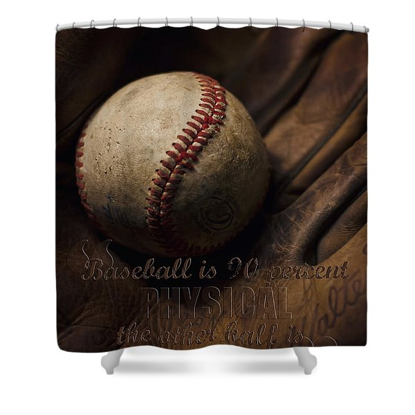 Baseball Yogi Berra Quote Shower Curtain