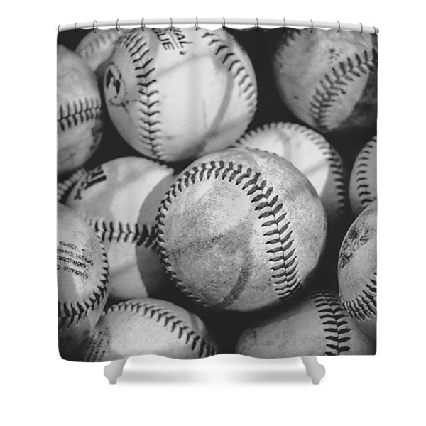 Baseballs In Black And White Shower Curtain