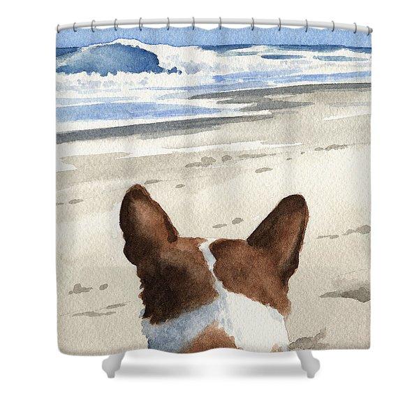 Basenji At The Beach Shower Curtain