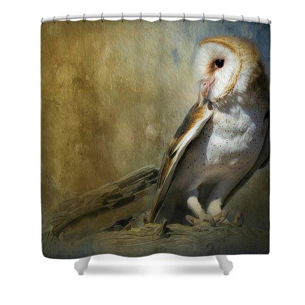 Bashful Barn Owl Shower Curtain