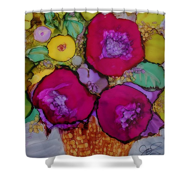 Basket Of Blooms Shower Curtain