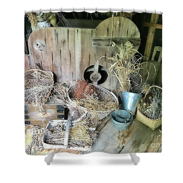 Baskets And Herbs Shower Curtain