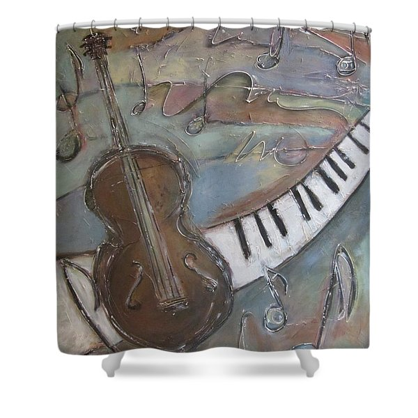 Shower Curtain featuring the painting Bass And  Keys by Anita Burgermeister