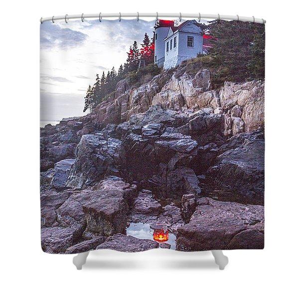 Bass Harbor Light Reflection Shower Curtain
