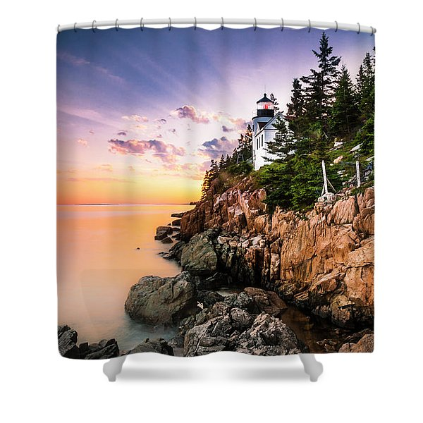 Shower Curtain featuring the photograph Bass Harbor Lighthouse Sunset by Ranjay Mitra