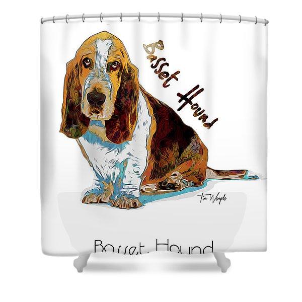 Basset Hound Pop Art Shower Curtain