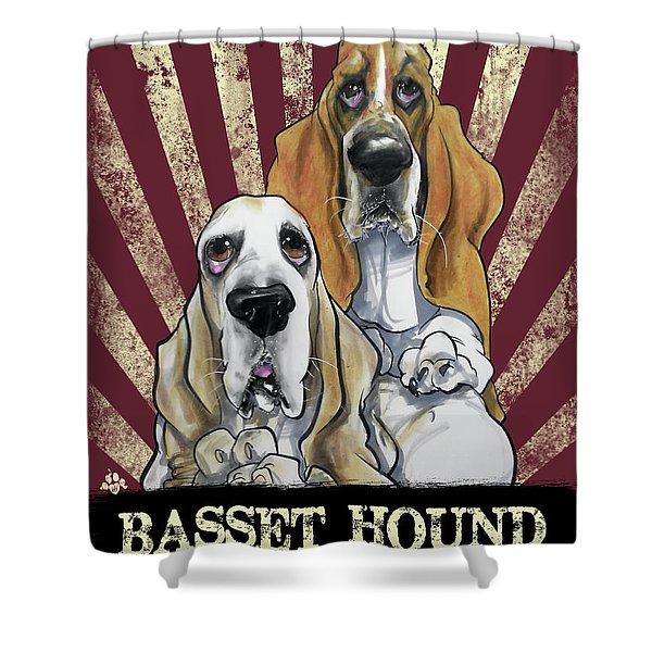 Basset Hound Revolution Shower Curtain