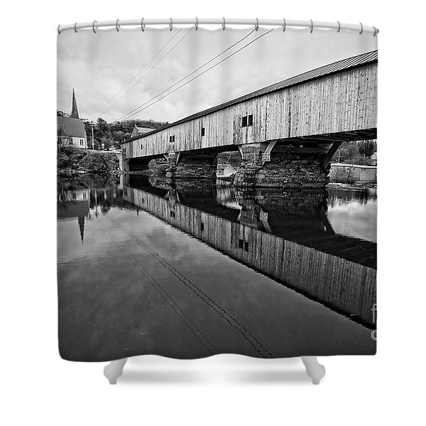 Bath Covered Bridge New Hampshire Black And White Shower Curtain