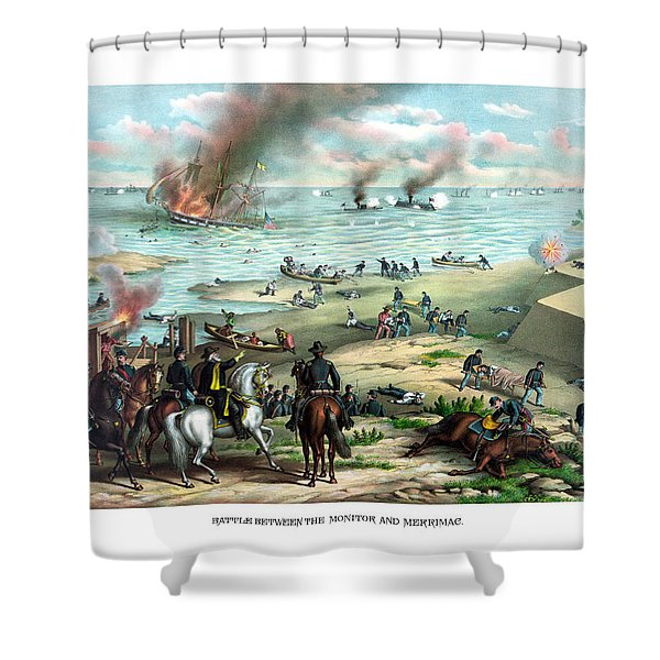 Battle Between The Monitor And Merrimac Shower Curtain