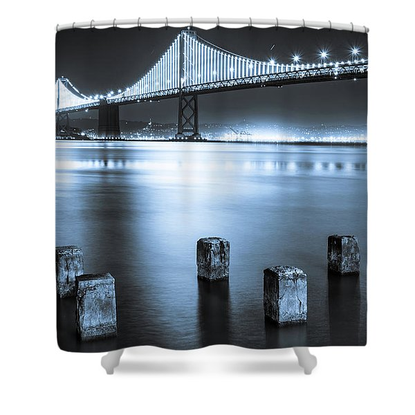 Bay Bridge 1 In Blue Shower Curtain