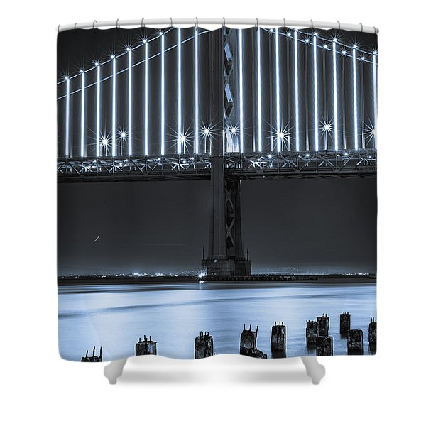Bay Bridge 2 In Blue Shower Curtain