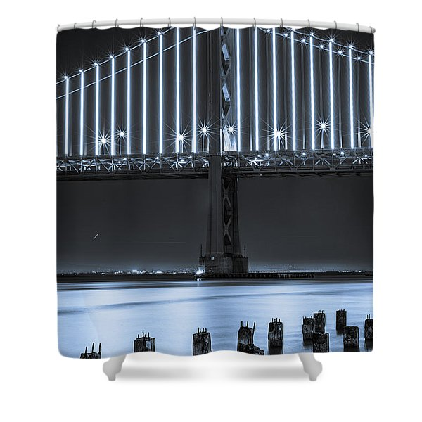 Bay Bridge 2 In Blue Shower Curtain