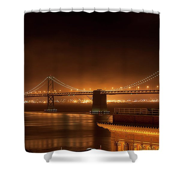 Bay Bridge At Night Shower Curtain