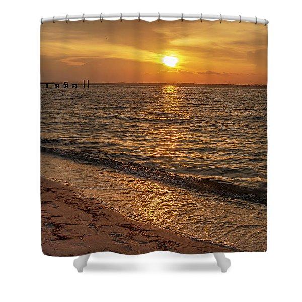 Bayside Sunset Shower Curtain
