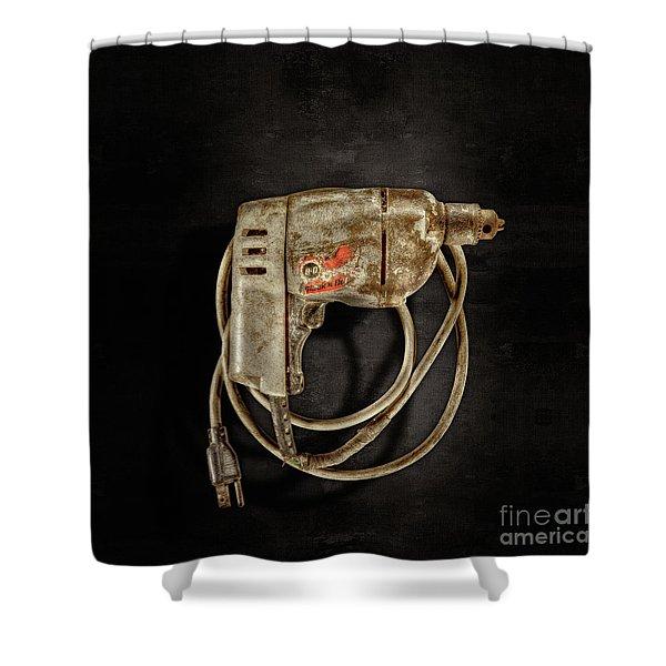 Bd Drill Motor On Black Shower Curtain