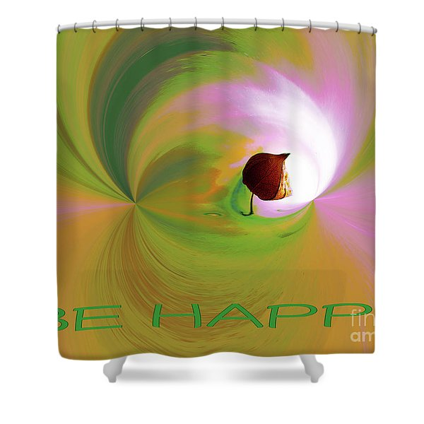 Be Happy, Green-pink With Physalis Shower Curtain