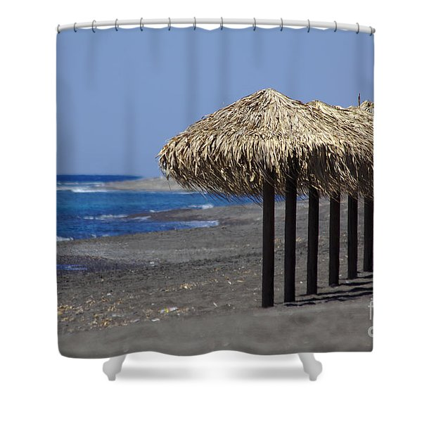 Shower Curtain featuring the photograph Beach At Perivolos by Jeremy Hayden