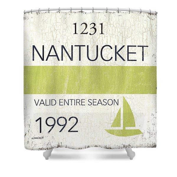 Beach Badge Nantucket Shower Curtain