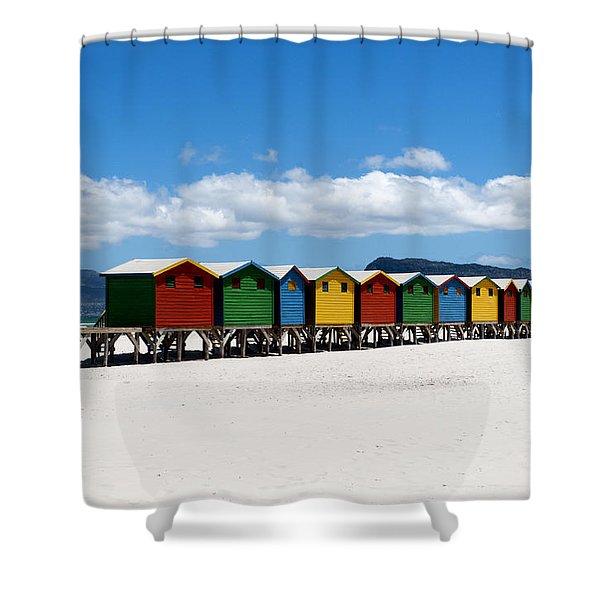 Shower Curtain featuring the photograph Beach Cabins  by Fabrizio Troiani