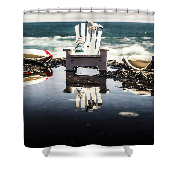 Beach Chairs And Rock Pools Shower Curtain