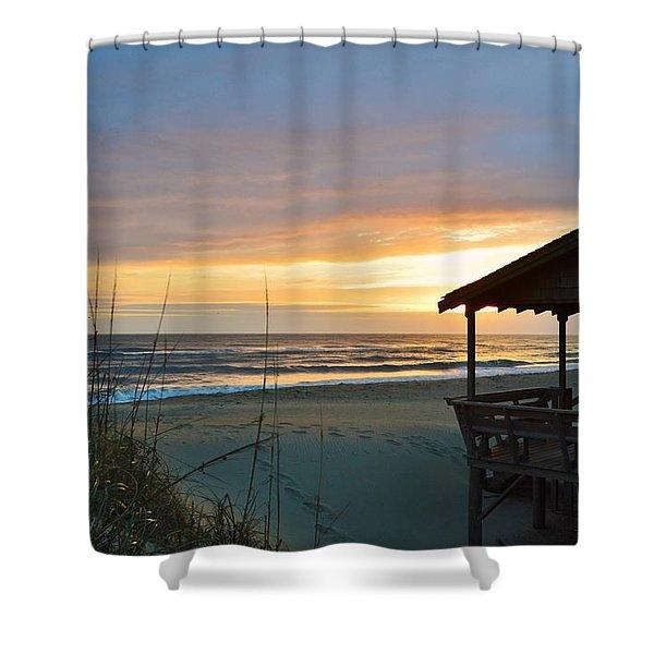 Beach Cottage Sunrise  Shower Curtain