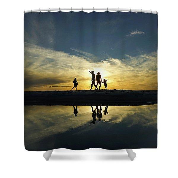 Beach Dancing At Sunset Shower Curtain