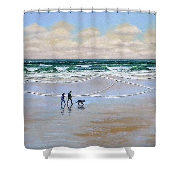 Beach Dog Walk Shower Curtain