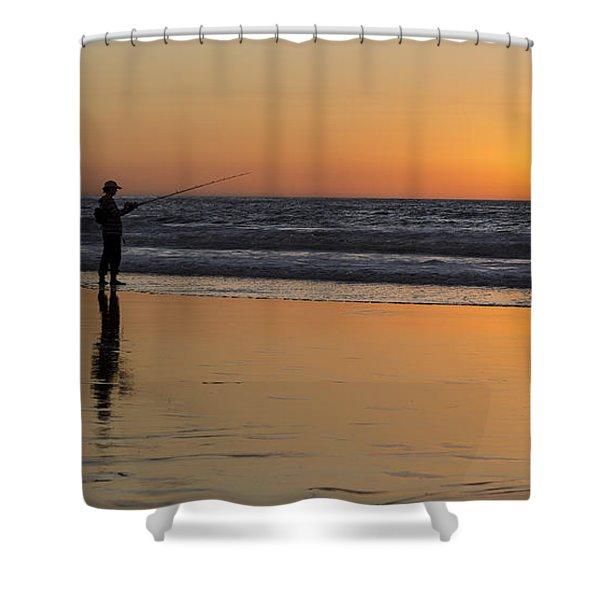 Beach Fishing At Sunset Shower Curtain