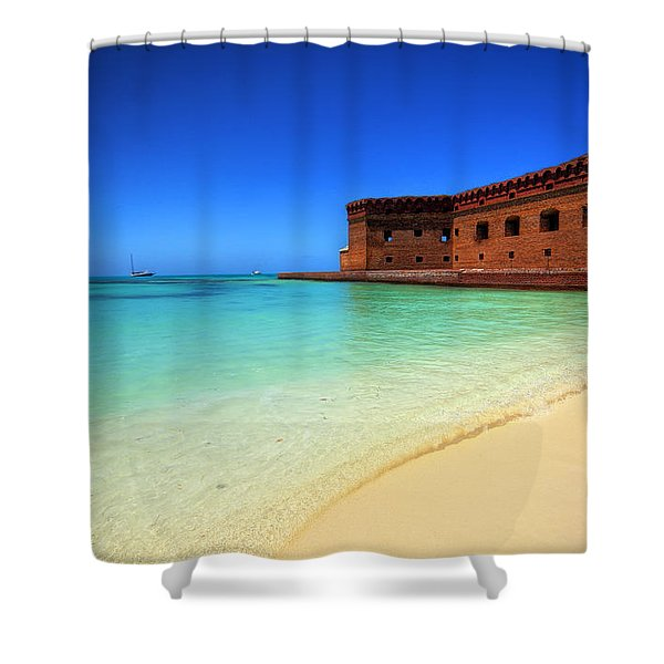 Beach Fort. Shower Curtain