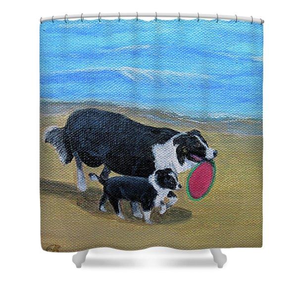 Beach Frisbee Shower Curtain