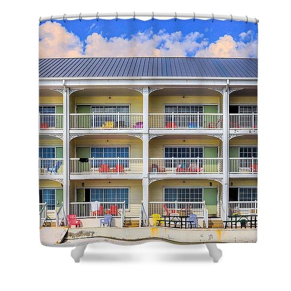 Beach Front Hotel Shower Curtain