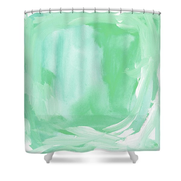 Beach Glass Blues Abstract- Art By Linda Woods Shower Curtain