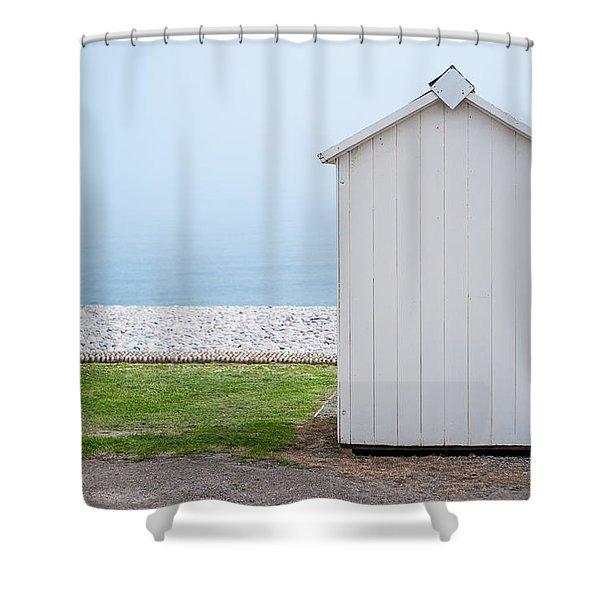 Beach Hut By The Sea Shower Curtain