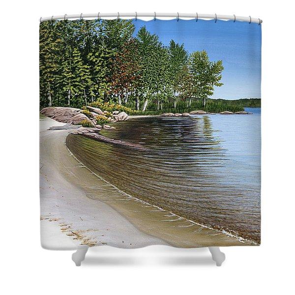 Beach In Muskoka Shower Curtain