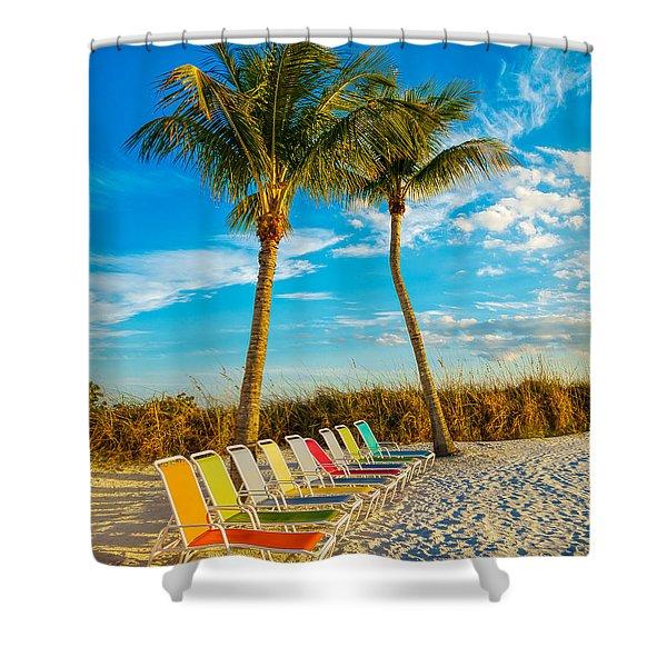 Beach Lounges Under Palms Shower Curtain