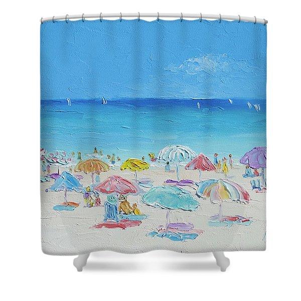 Beach Painting - Summer Paradise Shower Curtain
