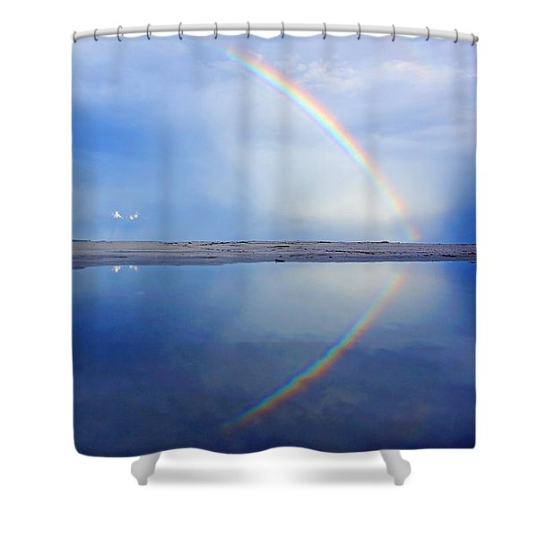 Beach Rainbow Reflection Shower Curtain