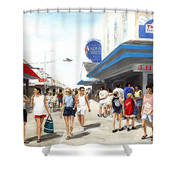 Beach/shore I Boardwalk Ocean City Md - Original Fine Art Painting Shower Curtain